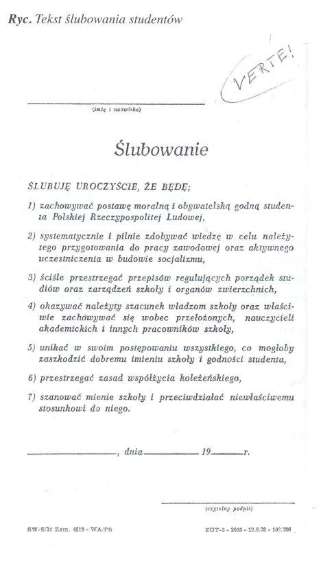 ślubowanie studentów w PRL